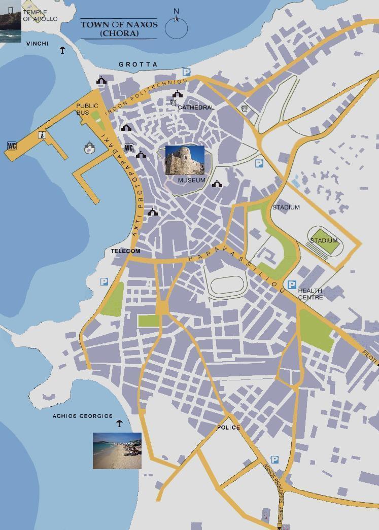 Naxos map, Naxos plattegrond