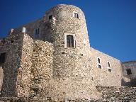 De toren van het Venetiaan kasteel in Naxos stad