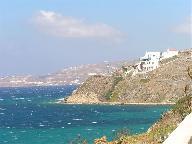 Het landschap bij Korfos onderweg van Mykonos stad naar Ornos