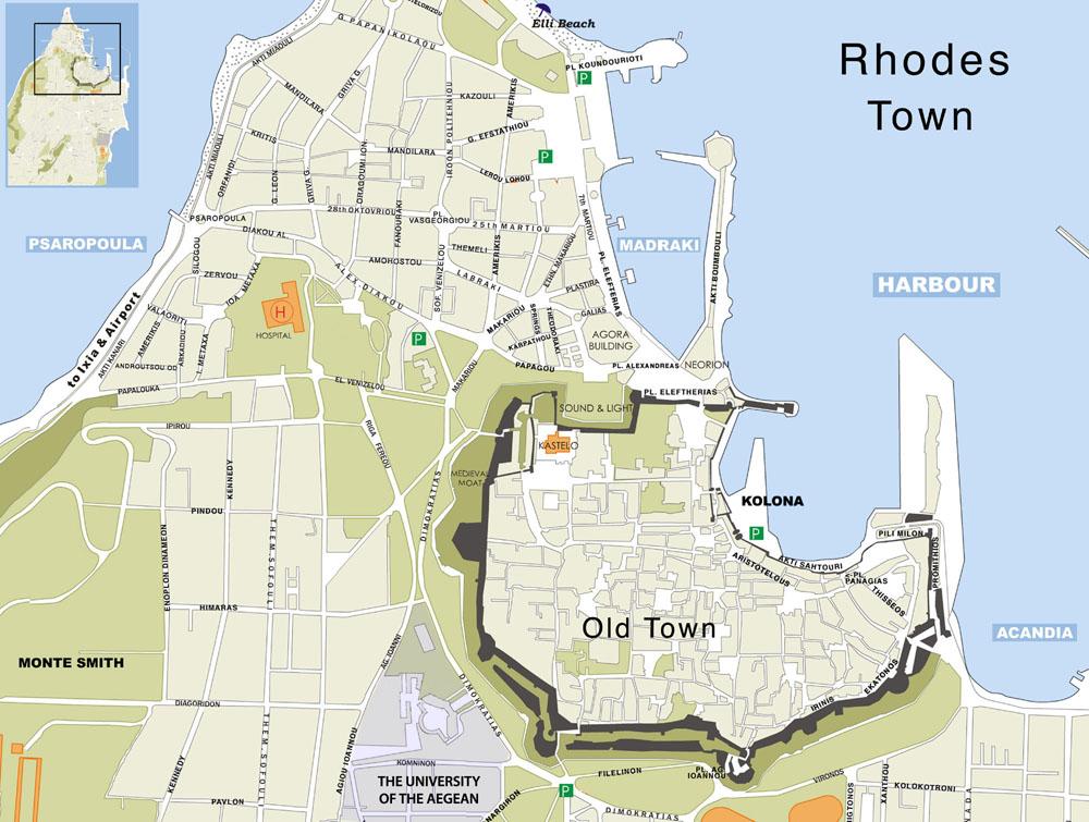 Rhodes town map, Rhodos plattegrond