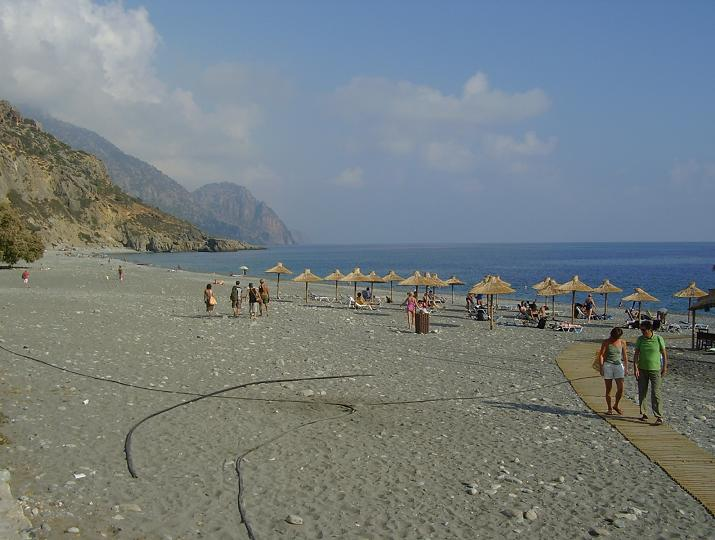 Het strand van Sougia in 2007.