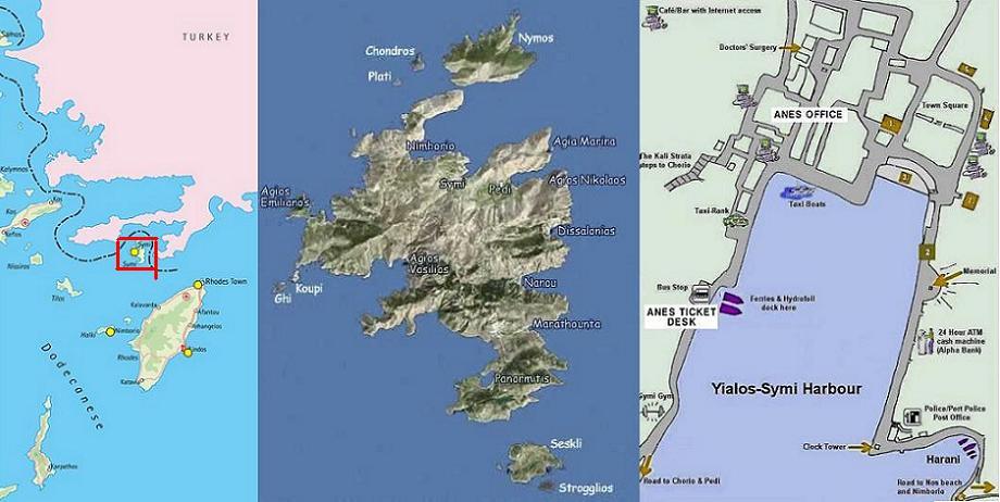 Symi map, Symi plattegrond