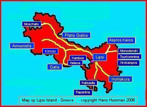 Map Lipsi, plattegrond Lipsi