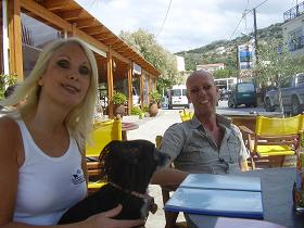 Almyrida, Frankie and Molly her dog in Caf� Francoise in Almyrida, Crete, Kreta