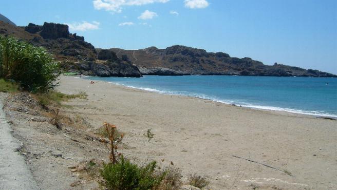 Het strand van Damnoni van József Pataki