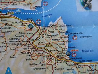 Plattegrond Apokoronas, Souda Kreta, Map Apokoronas, Souda Crete.