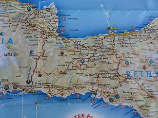 Plattegrond Chora Sfakion, Rethimnon, Plakias Kreta, Map of Chora Sfakion, Rethimnon, Plakias Crete.