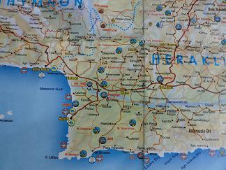 Plattegrond Mires, Matala, Agia Galini Kreta, Map Mires, Matala, Agia Galini Crete.