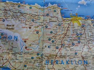 Plattegrond Heraklion Kreta, Map of Heraklion Crete.