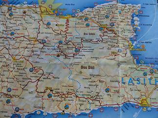 Plattegrond Chersonissos, Agios Nikolaos Kreta, Map of Chersonissos, Agios Nikolaos Crete.