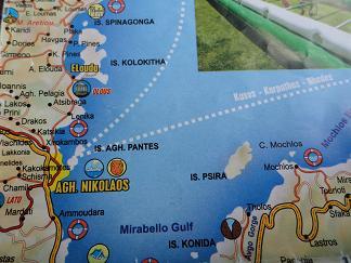 Plattegrond Agios Nikolaos, Elounda Kreta, Map of Agios Nikolaos, Elounda Crete.