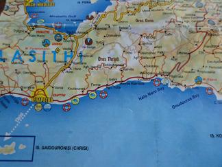 Plattegrond Agios Nikolaos, Ierapetra Kreta, Map of Agios Nikolaos, Ierapetrat Crete.