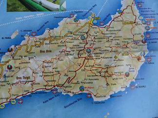 Plattegrond oost Kreta, Map of east Crete.
