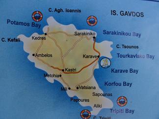 Plattegrond van Gavdos Kreta, Map of Gavdos Crete.