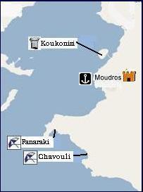 Map of Moudros, Limnos, plattegrond van Limnos
