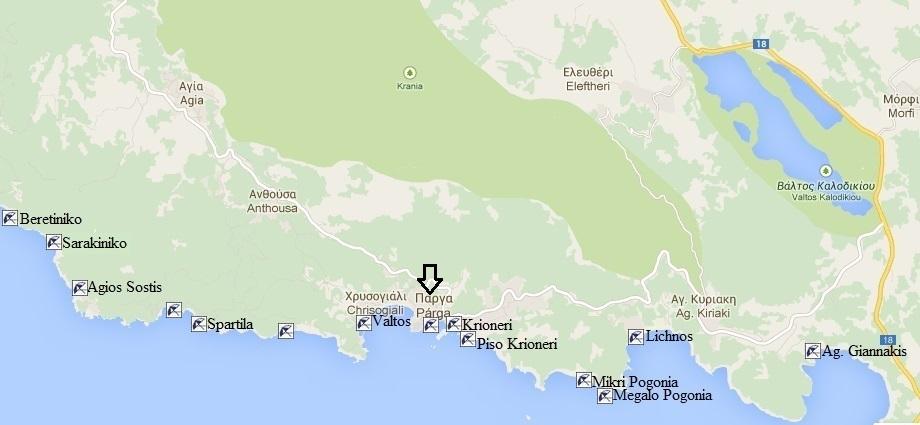 Parga beaches map, Greece, Griekenland
