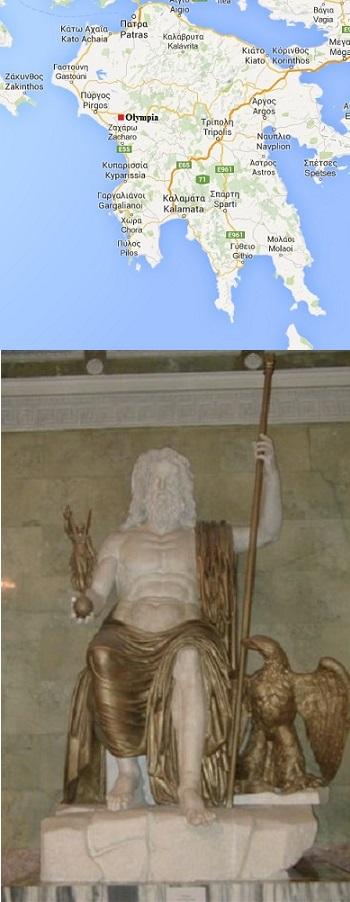 Olympia map, statue of Zeus