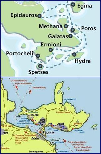 map of Poros, Greece, plattegrond van Poros, Griekenland