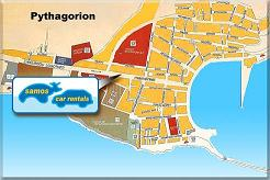 Samos, Map of Pythagorion, Kiklos Car Rental Samos