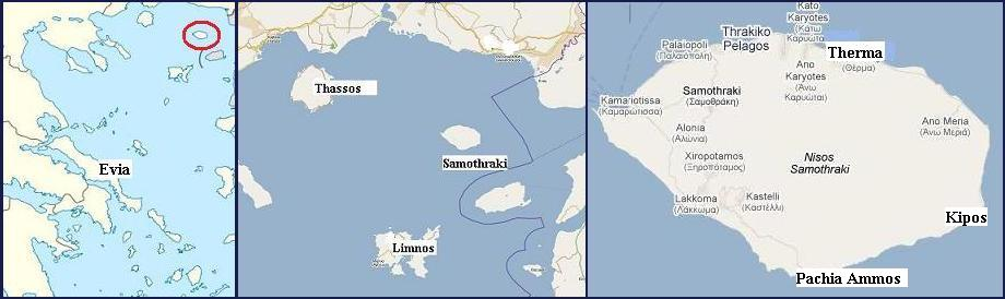 Samothraki or Samothrace the island in Greece about the beaches