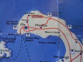 Map of Santorini, around Oia