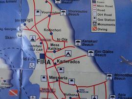 Map of Santorini, around Fira