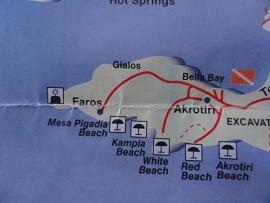 Map of Santorini, beaches in the southwest