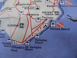 Map of Santorini, Kamari and Perissa, beaches in the southeast