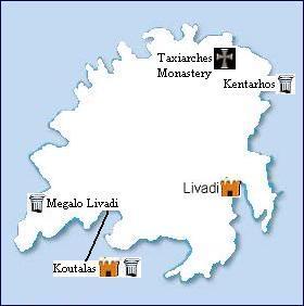 map of Serifos sights, plattegrond van Serifos bezienswaardigheden