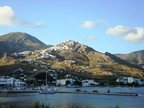 Serifos Hora and Livadi from the sea
