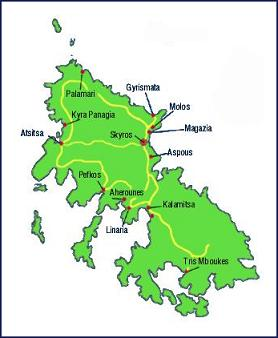 map of Skyros Greece, plattegrond van Skyros Griekenland, copyright Mealos Apartments