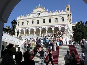 The Panagia Evangelistria Church on Tinos in Greece, de kerk in Tinos Stad in Griekenland