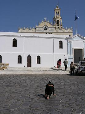 The Panagia Evangelistria Church on Tinos in Greece, de kerk in Tinos Stad in Griekenland