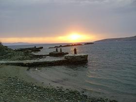 Tinos Greece, remains of the old harbour of Stavros, Tinos Griekenland, restanten van de oude haven van Stavros