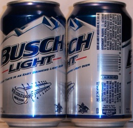 BUSCH LIGHT, GREAT TASTE IN AN EASY DRINKING LIGHT BEER, ICE COLD EASY  INDICATOR, BREWED AND CANNED BY ANHEUSER BUSCH, INC., ST.