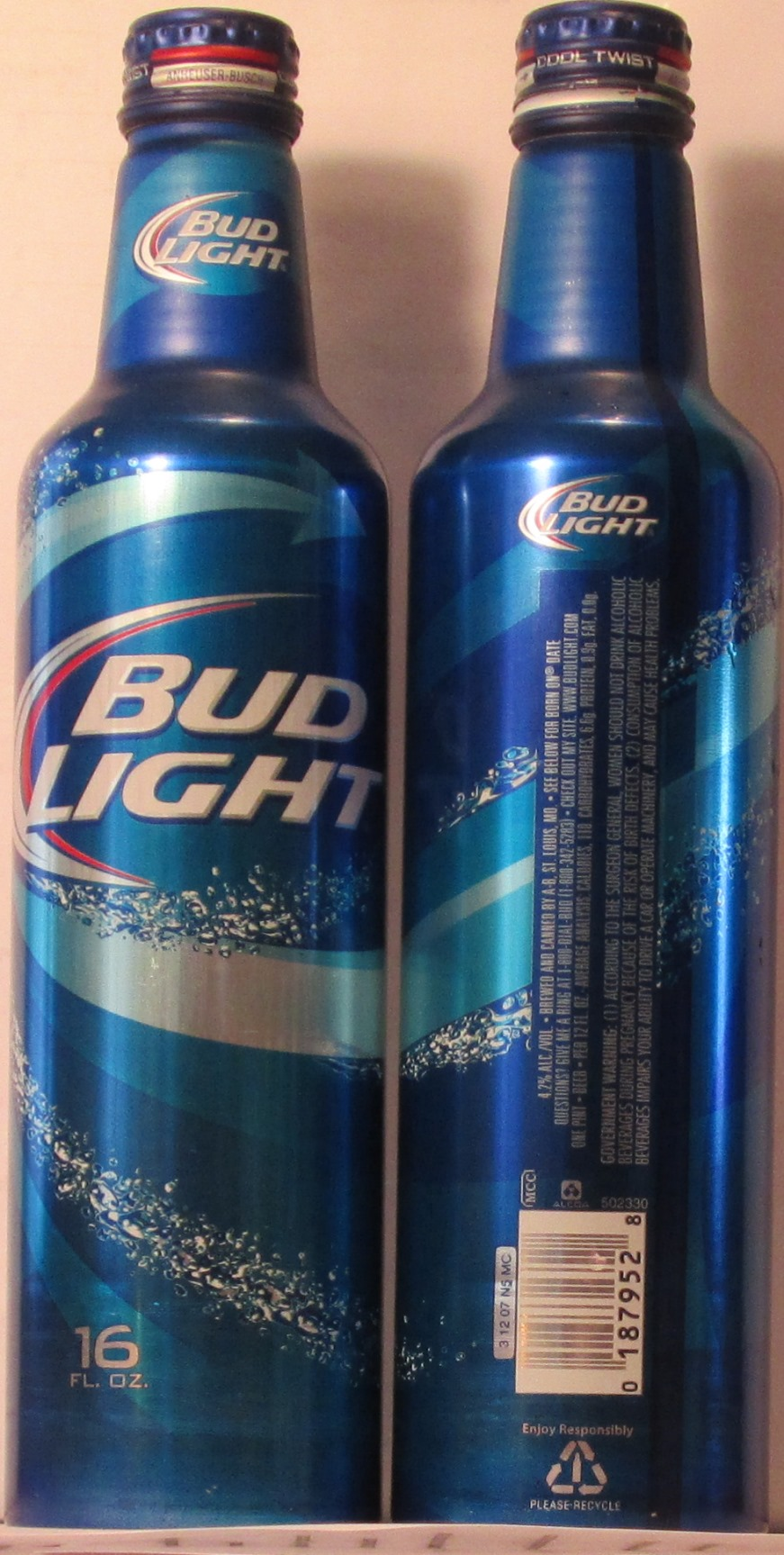 Superior BUD LIGHT, 16 FL. OZ., NEW TWIST TOP OFF CAP, 4.2 % ALC/VOL., BREWED AND  CANNED BY A B, ST. LOUIS, MO., CALORIES 110, CARBOHYDRATES 6.6g, ...