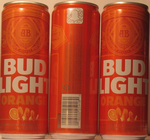 NEW BUD LIGHT ORANGE, LIGHT LAGER BREWED WITH REAL ORANGE PEELSWITH NATURAL  CITRUS FLAVORS, 4.7 % ALC./VOL., ANHEUSER BUSCH, ST.