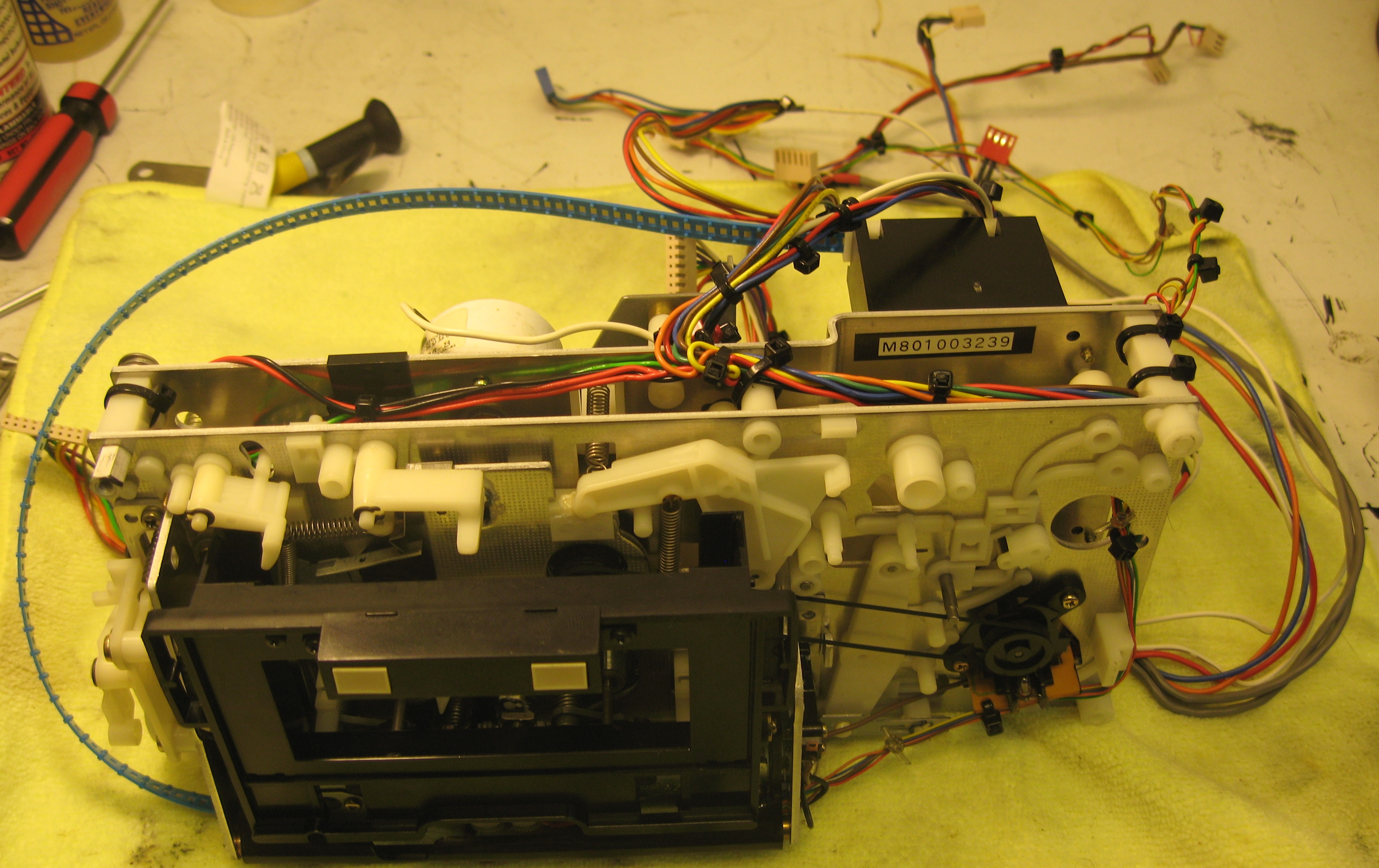 ... and wiring harness underneath frame. A lot of electronic components  packed into the inner frame of this deck, as is common for classic Nakamichi  decks!