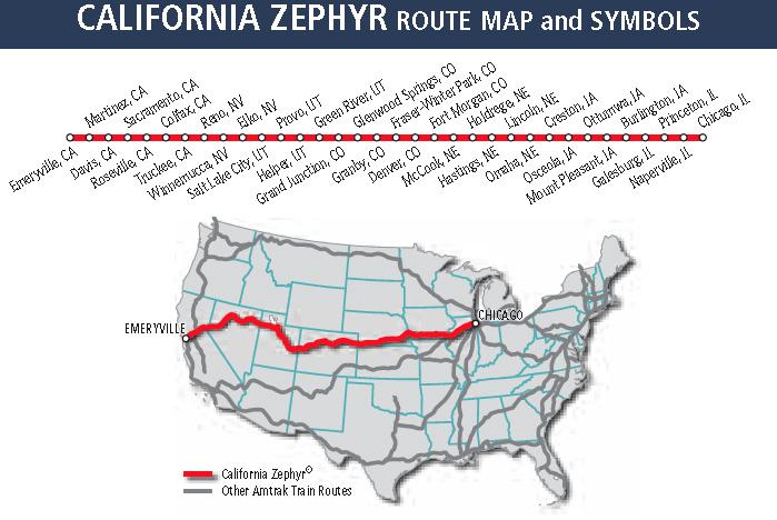 Map Of California Zephyr Route.California Zepher