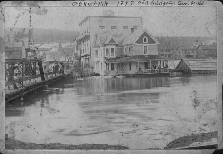 picture of gormania during flood (1897).